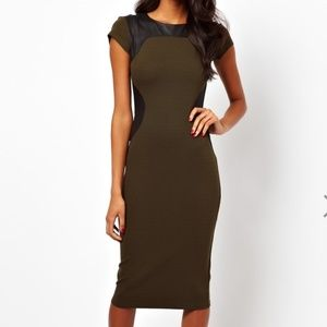 Olive Bodycon Midi Dress Faux Leather Panels 12